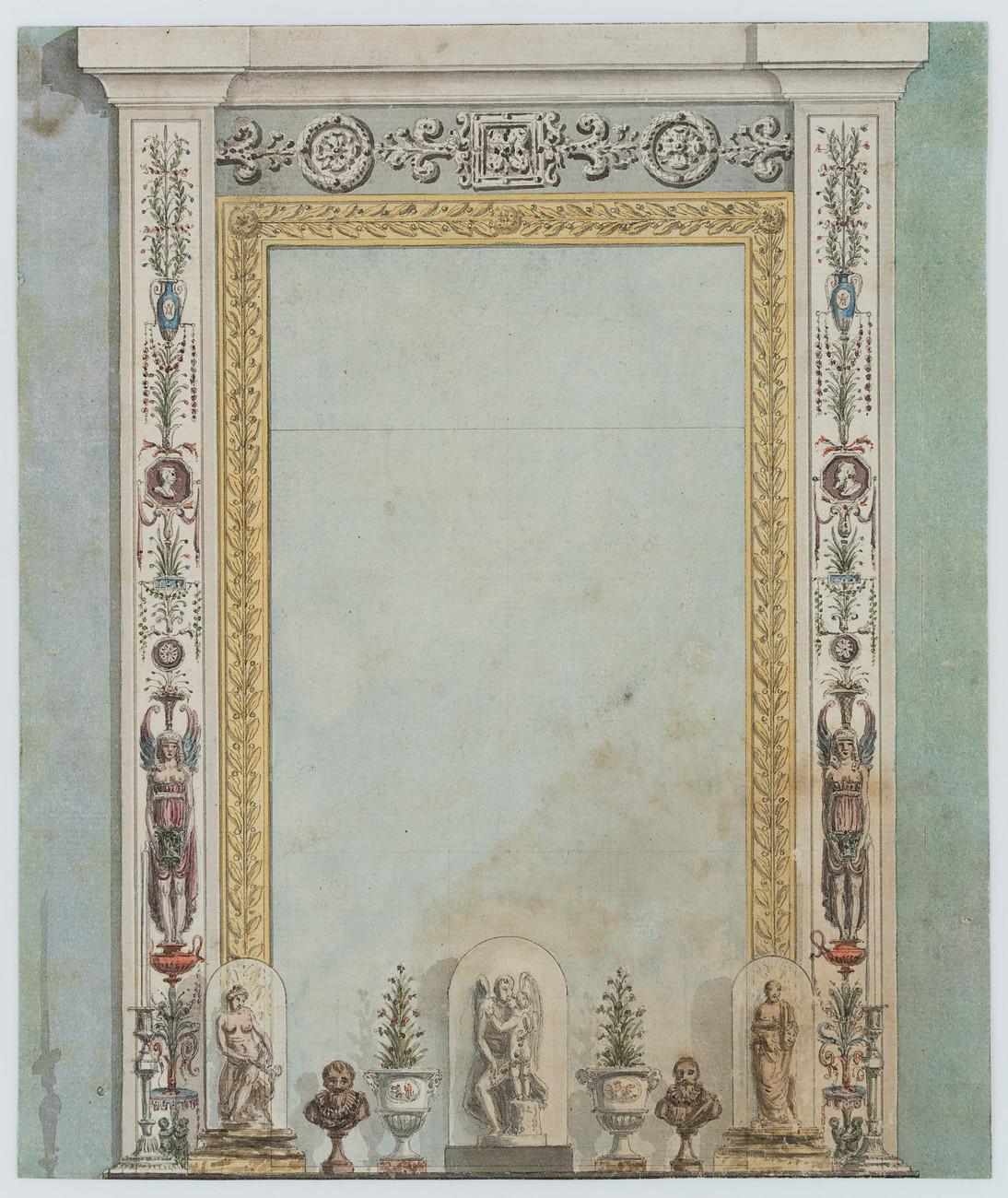 Reich verzierte Rahmenarchitektur mit Spiegelfläche, Aquarell | eBay